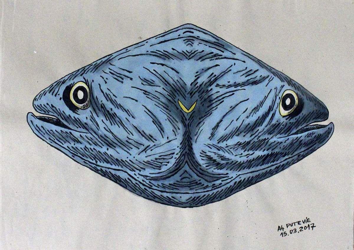 Double fish mask, acrylic on rice paper 60x80 cm, Cu Chi / Plus Zero.