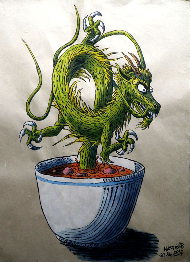 DRAGON SOUP to be strong, acrylic on rice paper 80x60 cm, Cu Chi / Plus Zero.
