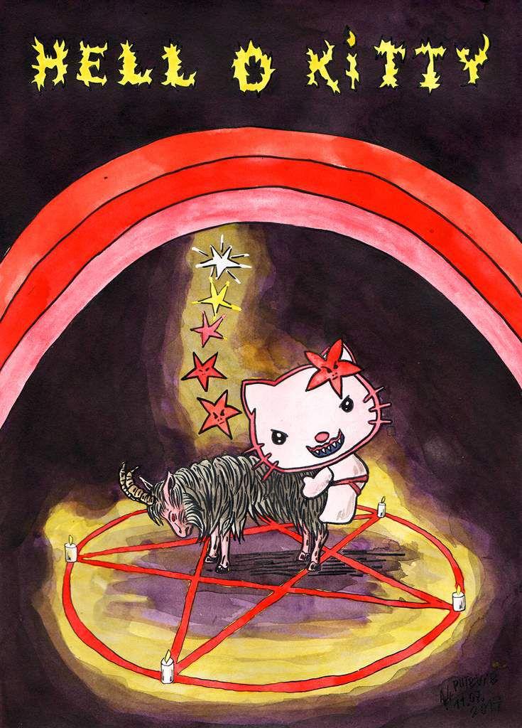 HELL o KITTY, aquarelle et encre de chine (29,7x21cm).