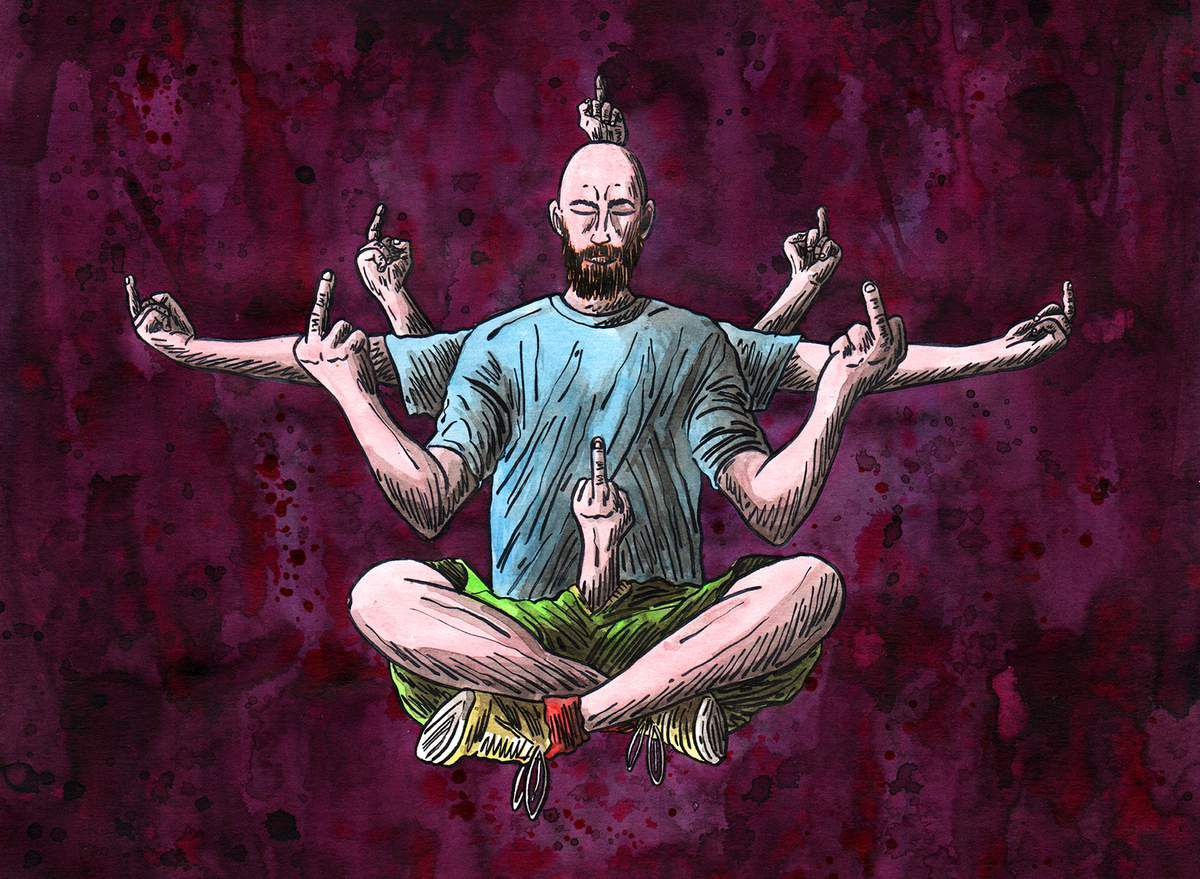 "Bouddha of ""never mind the bollocks"" come to speak to me in my dreams (21x29,7cm)"