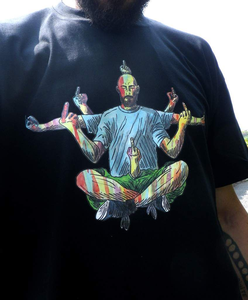 """Bouddha of """"never mind the bollocks"""" come to speak to me in my dreams on black T-shirt."""