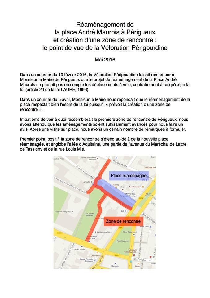 A propos du réaménagement de la place André Maurois à Périgueux