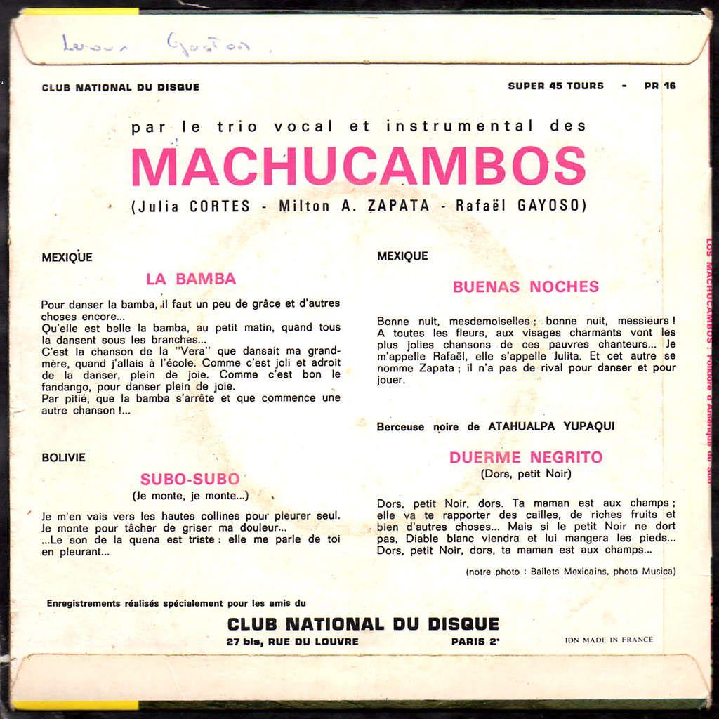 Los Machucambos - Chansons populaires d'Amérique du Sud