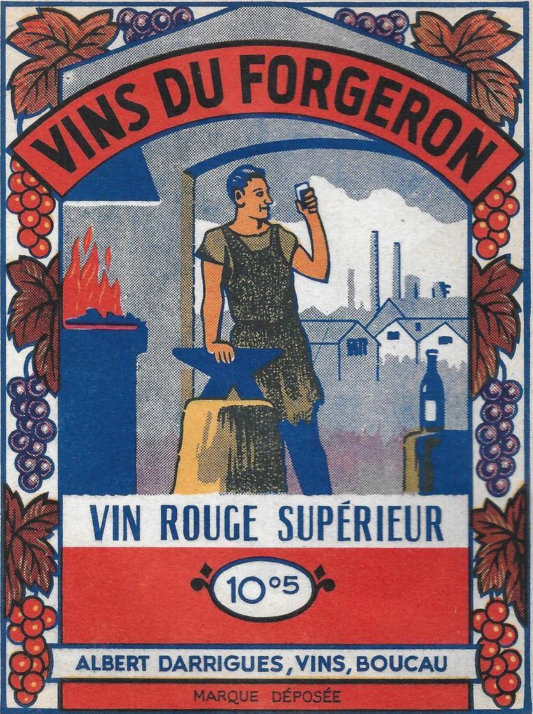 Etiquette VINS DU FORGERON. Albert DARRIGUES, vins, BOUCAU.