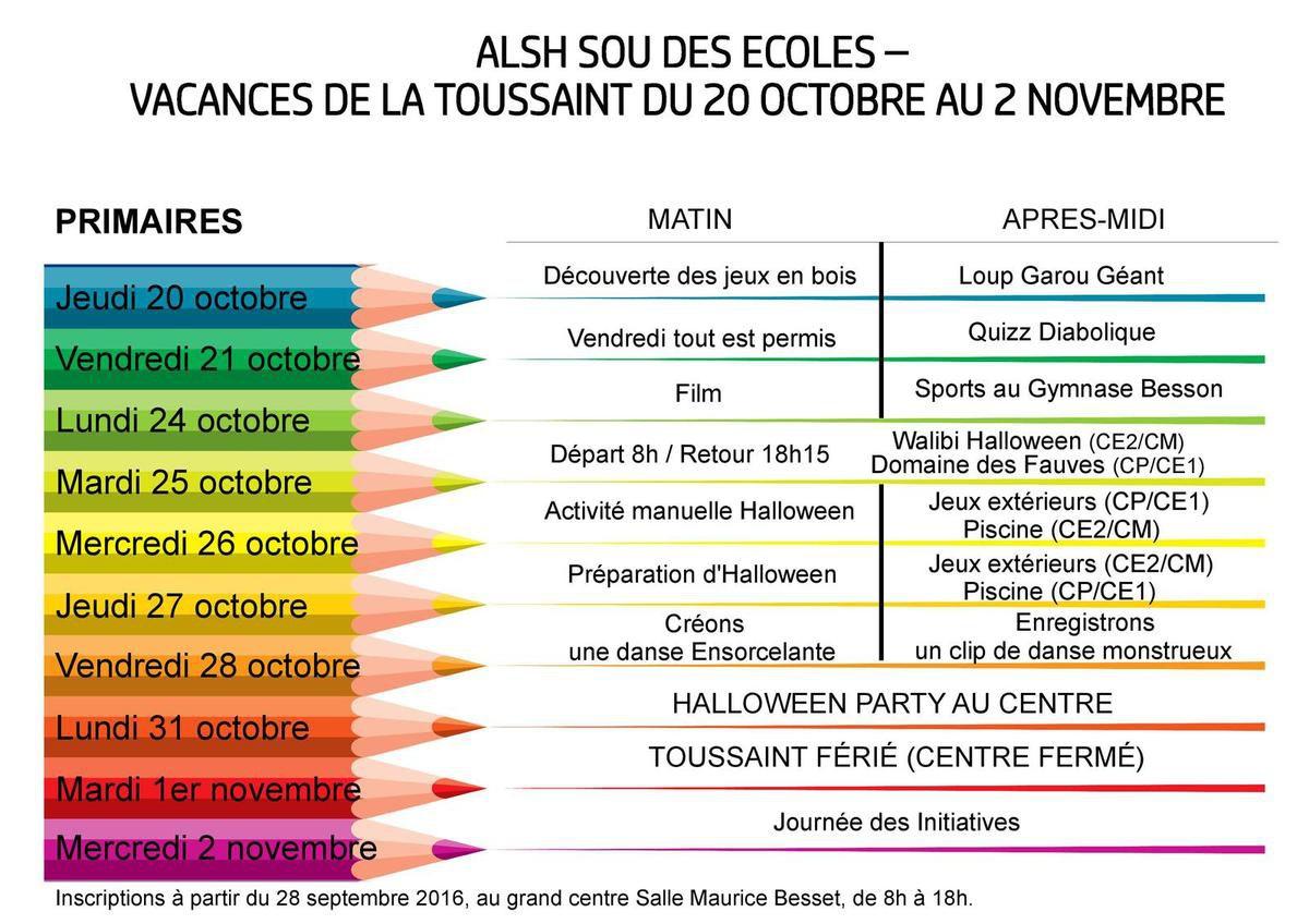 Programme des primaires vacances de la toussaint - Vacances de la toussaint 2016 ...