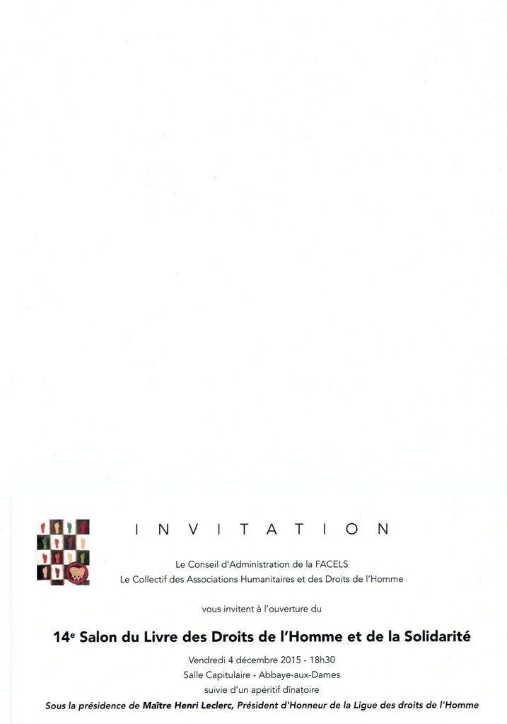 INVITATION 14° SALON DU LIVRE DES DROITS DE L'HOMME ET DE LA SOLIDARITE
