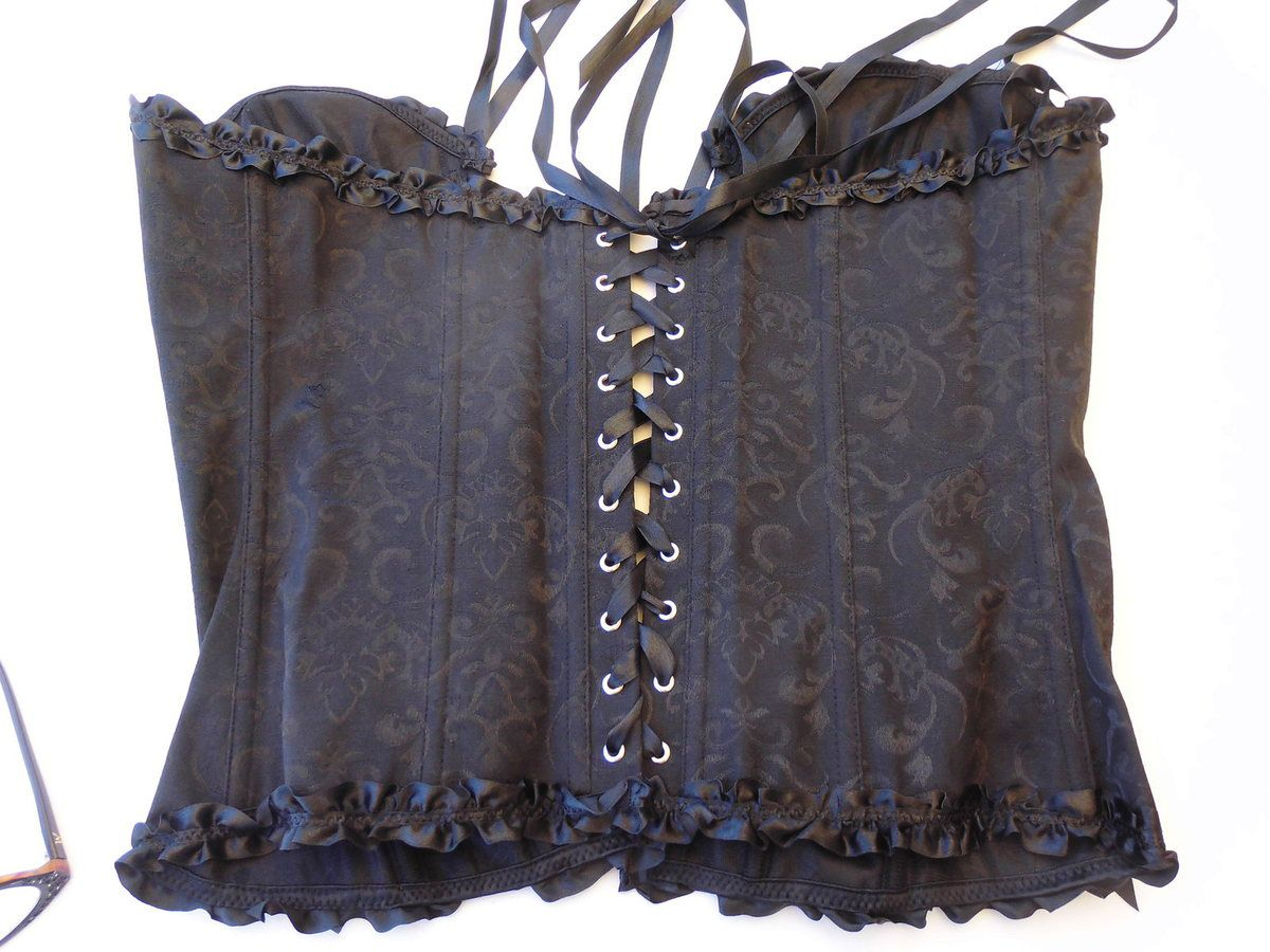 bustier corset noir neuf avec rubans