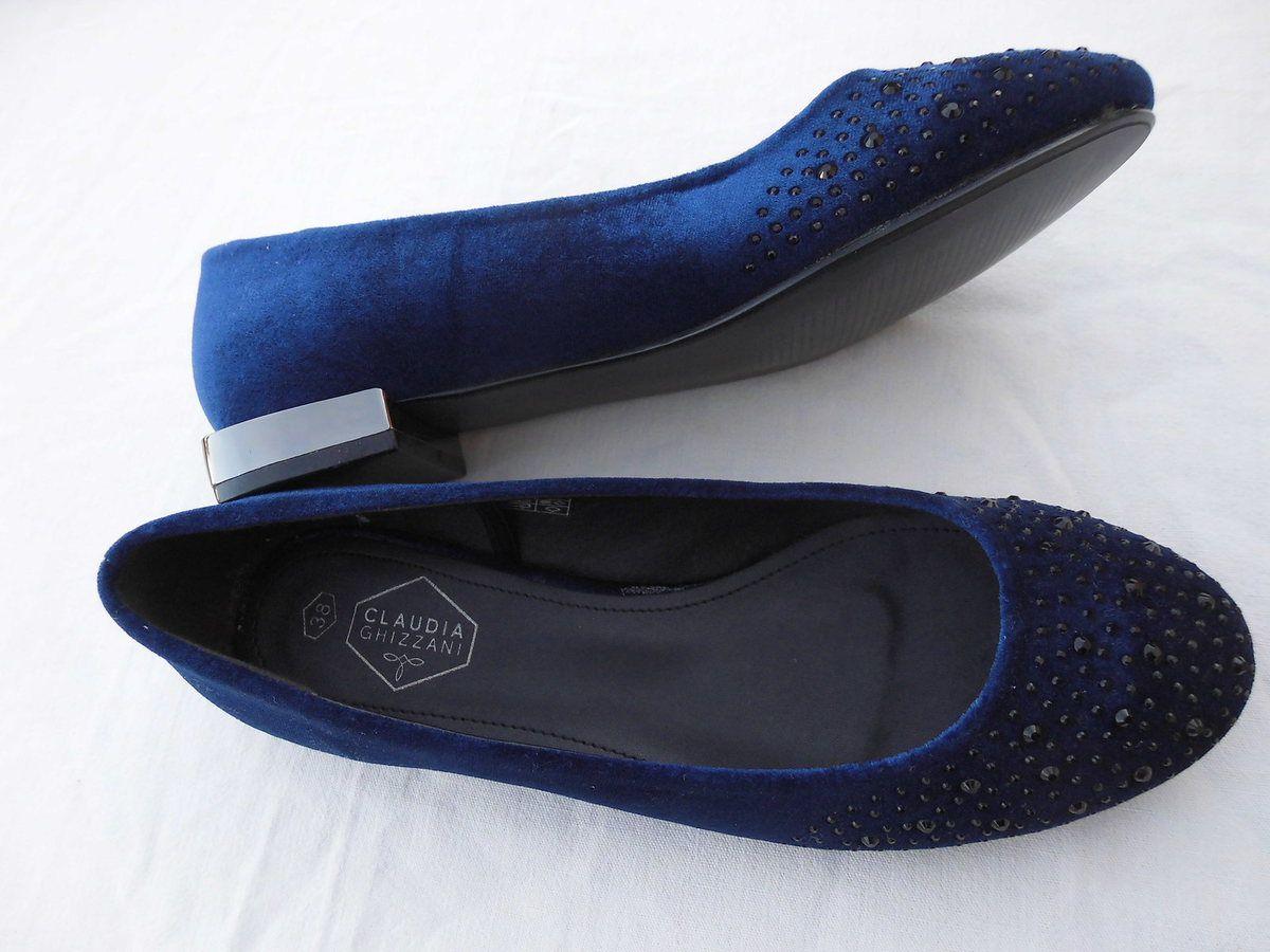 ballerines 38  bleu velours strass talon miroir neuf