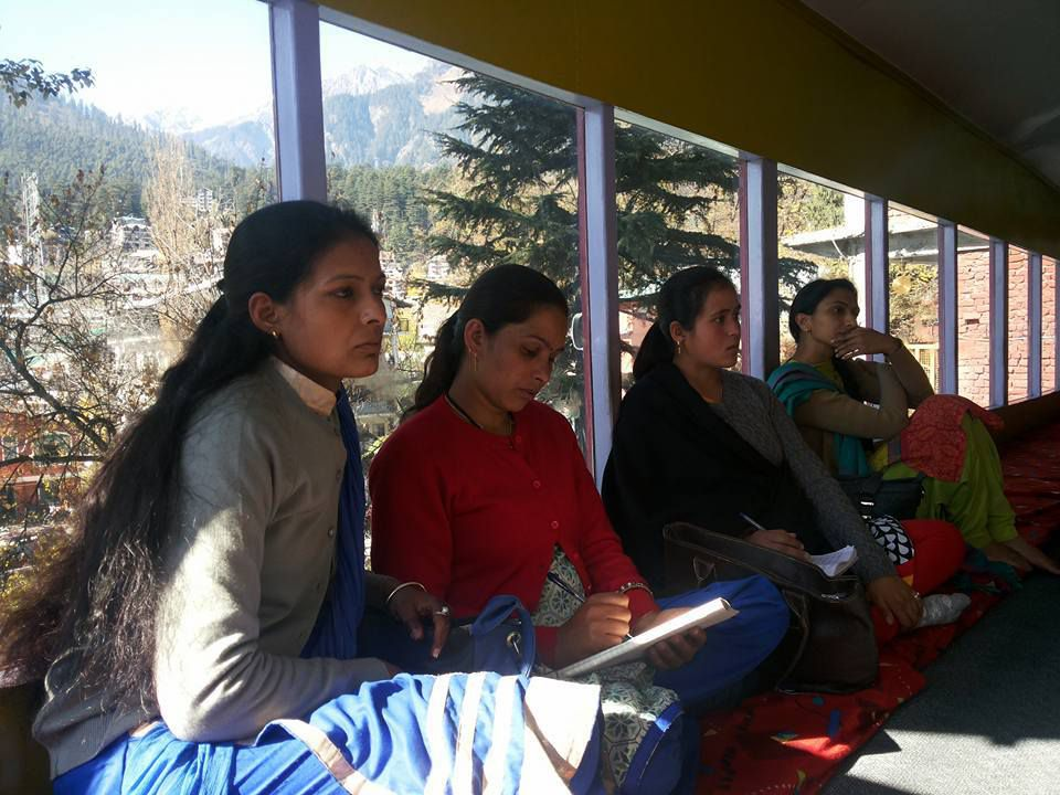 Our 3 CBR agents and Shakuntala, special educator, giving their full attention during a training session.