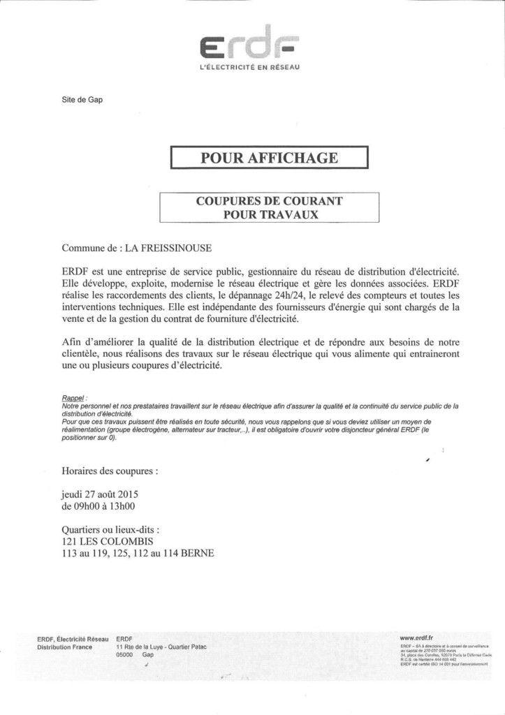 Coupure de courant 27 ao t 2015 le blog de la mairie de la freissinouse - Coupure de courant congelateur ...