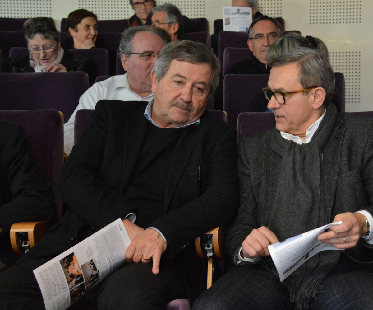 Didier Rey, maire de Lacq et président de l'Elan Béarnais Pau-Orthez, et Patrice Bernos, directeur de Chemparc
