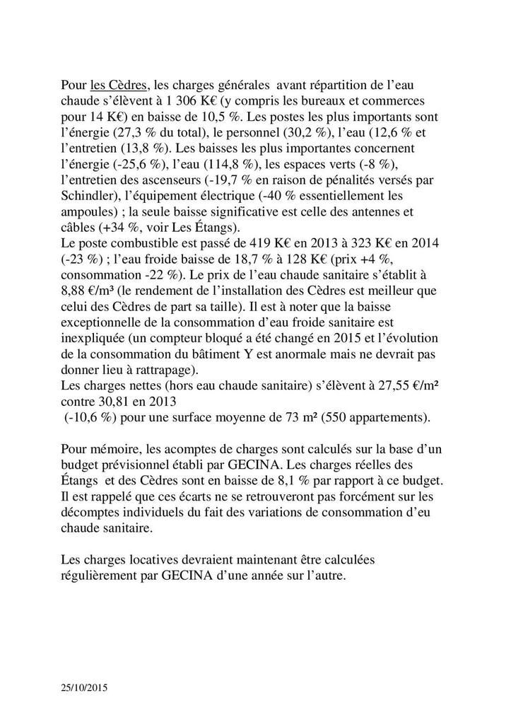 Analyse des charges 2014