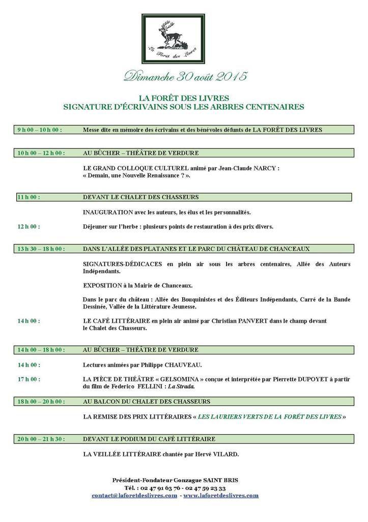 Le dimanche 30 août 2015 à Chanceaux-près-Loches en Touraine LES VINGT ANS DE LA FORET DES LIVRES