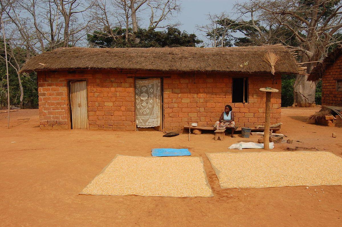 La visite faite à la famille  au village du Bas Congo , Congo Central.Rassemblement avant d'aller visité les tombes des défunts de la famille, la soirée, les enfants du village reçoivent à manger ensuite la fête. 2011