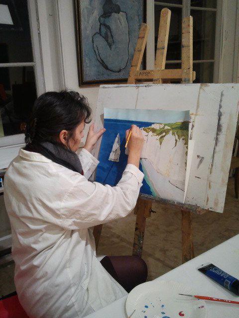Cours d'acrylique avec Fabienne Coz