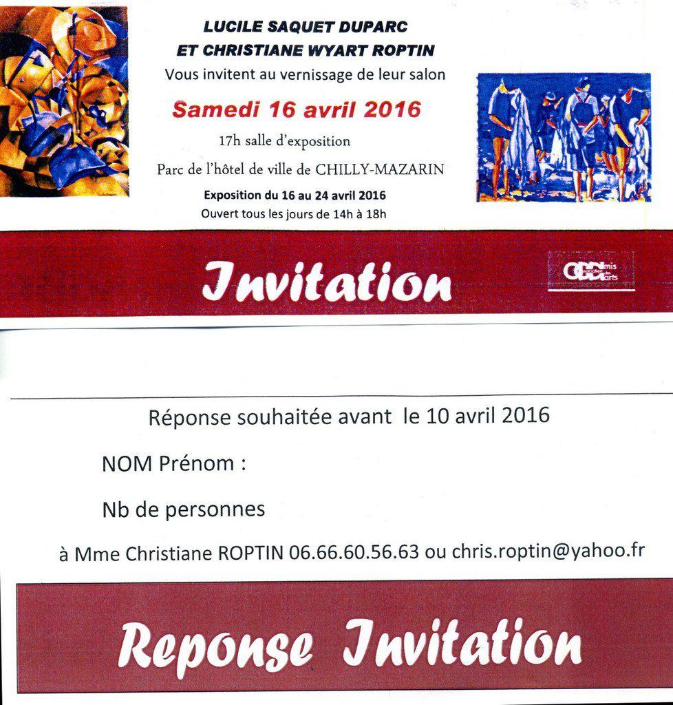 Expo. Lucile Saquet Duparc &amp&#x3B; Christiane Wyart Roptin - du 16 au 24 avril 2016