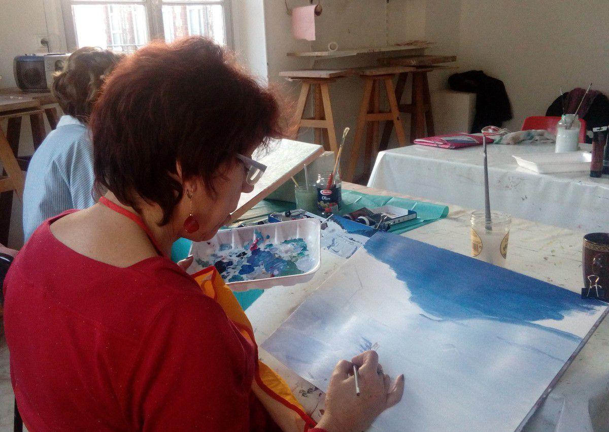 Cours de peinture acrylique du jeudi : peintures d'hiver!