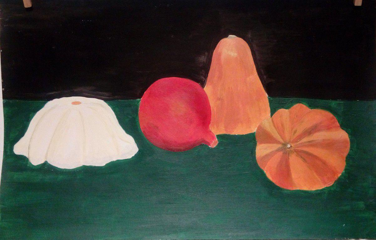 Les courges d'automne sont à nouveau à l'honneur mais cette fois-ci peintes à l'acrylique par le groupe du vendredi un soir de janvier!
