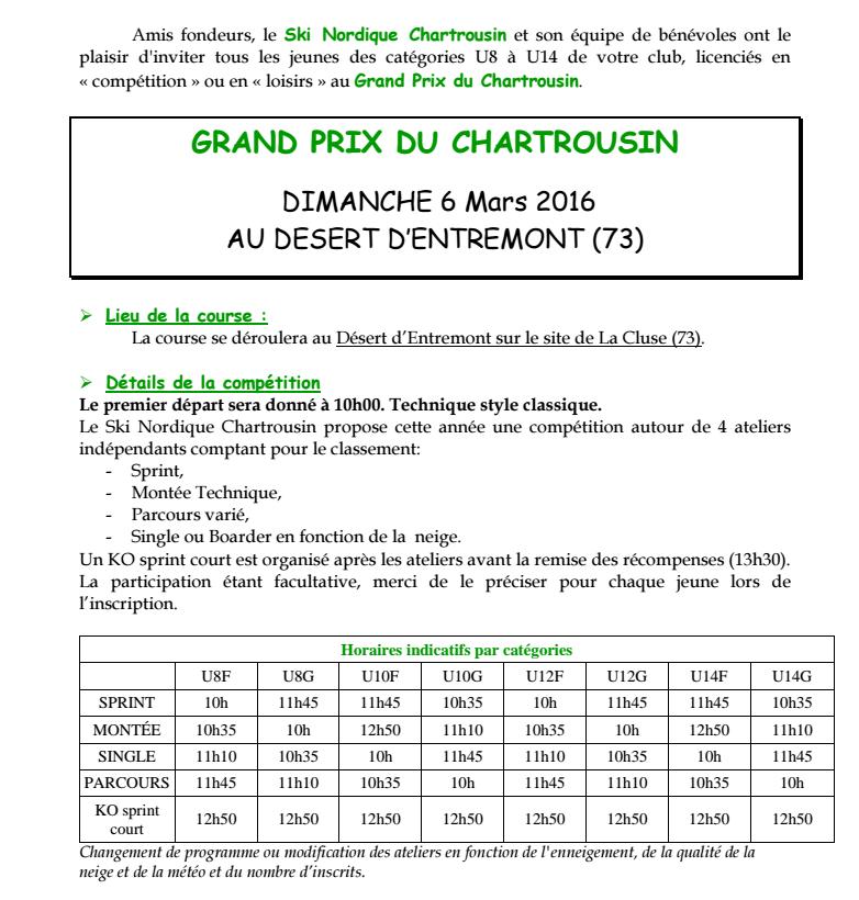 GRAND PRIX DU CHARTROUSIN du 06/03/16 ... la préparation