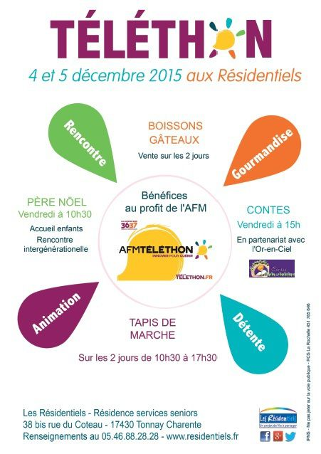 EVENEMENTS : TELETHON 2015 AUX RESIDENTIELS