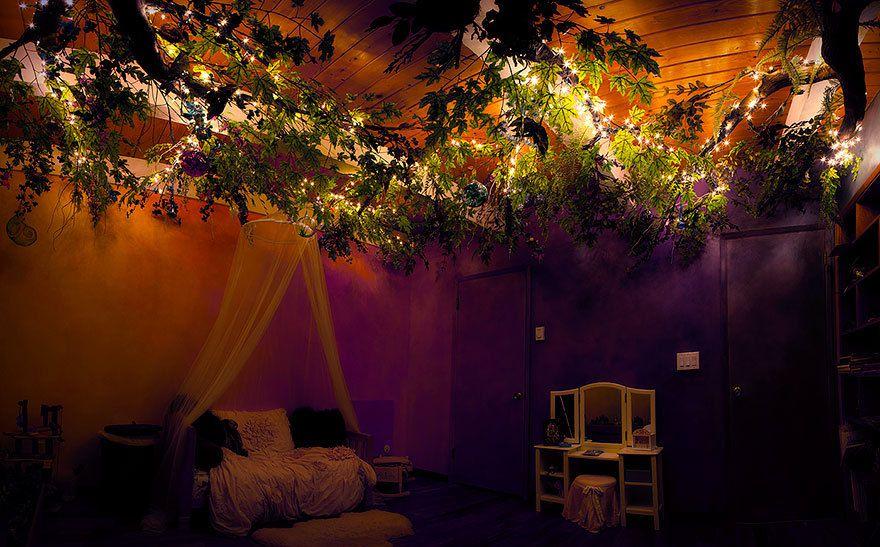 Un papa passe 18 mois à transformer la chambre de sa fille en une cabane de conte de fées