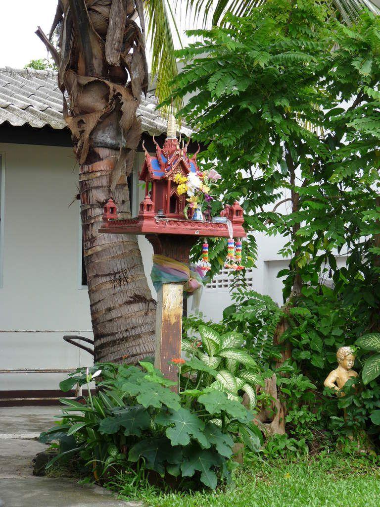 Chiang Rai : le petit autel des offrandes de notre pension / Sur la route de Mae Salong / le Night bazar