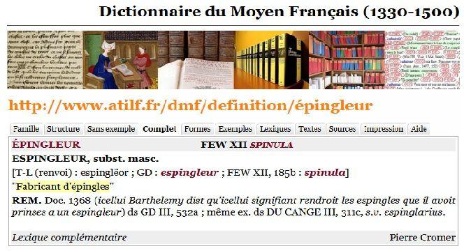 DMF : Dictionnaire du Moyen Français, version 2012 (DMF 2012). ATILF - CNRS & Université de Lorraine. Site internet : http://www.atilf.fr/dmf.