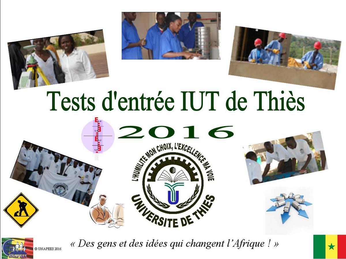 Tests d'entrée en 1ere année à l'IUT de Thiès