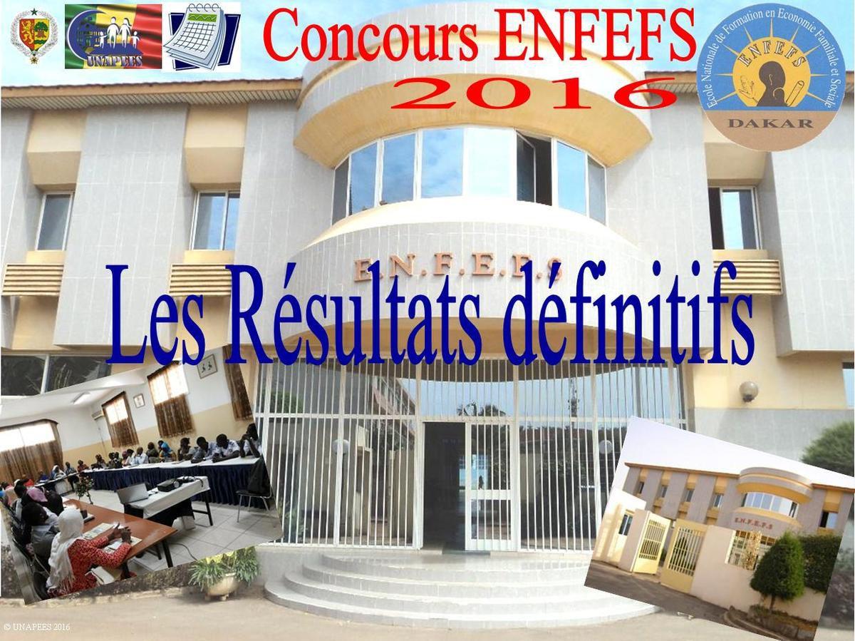 ENFEFS - Concours d'entrée 2016 - Résultats définitifs