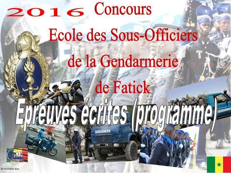 Concours Gendarmerie (ESOGEN) - Programme des épreuves écrites