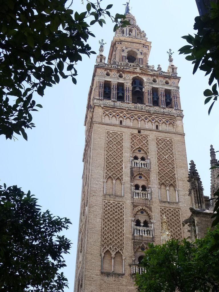 La Giralda (ancien minaret de 104 m de haut, sans escaliers mais une superbe rampe qui permettait au muezzin de monter avec un âne pour appeler à la prière.