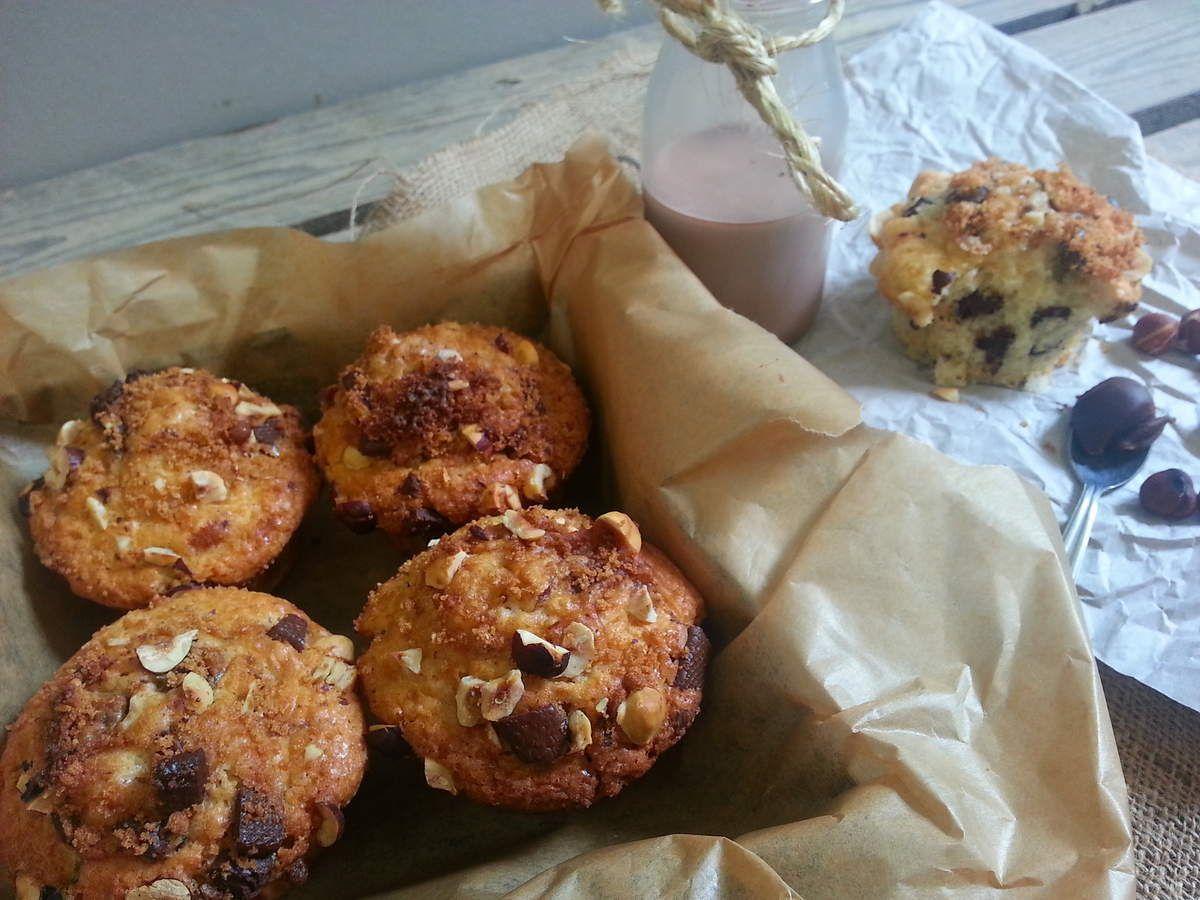 Muffins au chocolat et noisettes, crumble