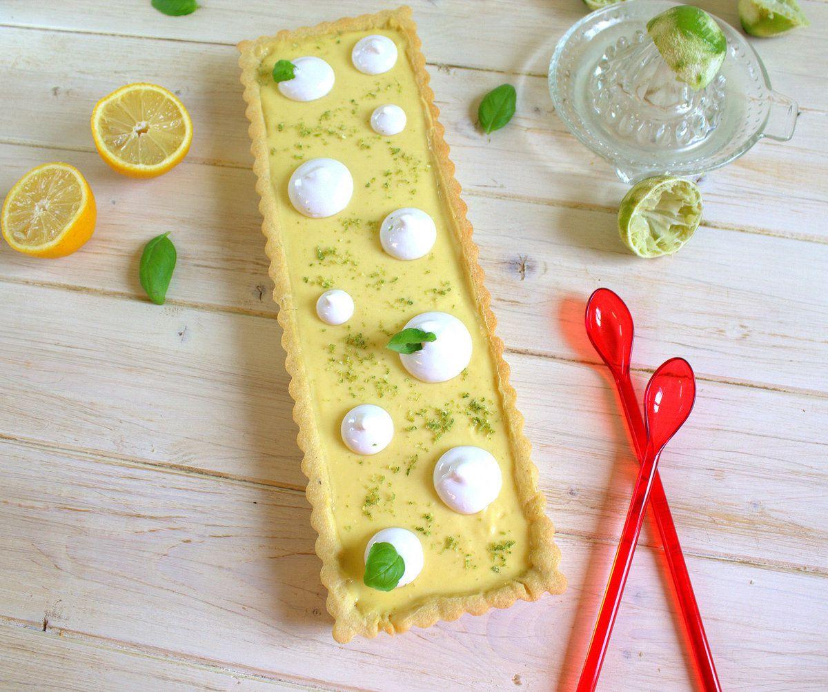 Tarte à la crème de citrons verts et basilic