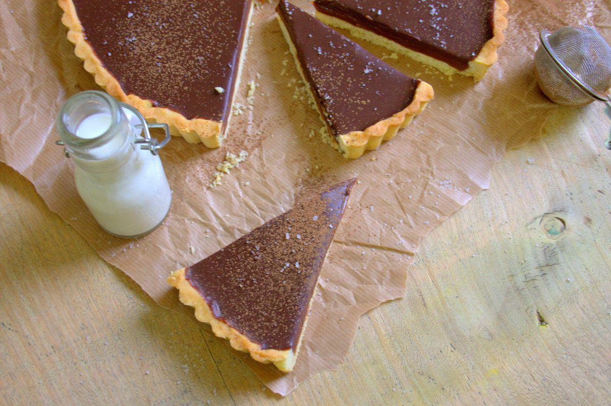 Tarte au chocolat et caramel beurre salé