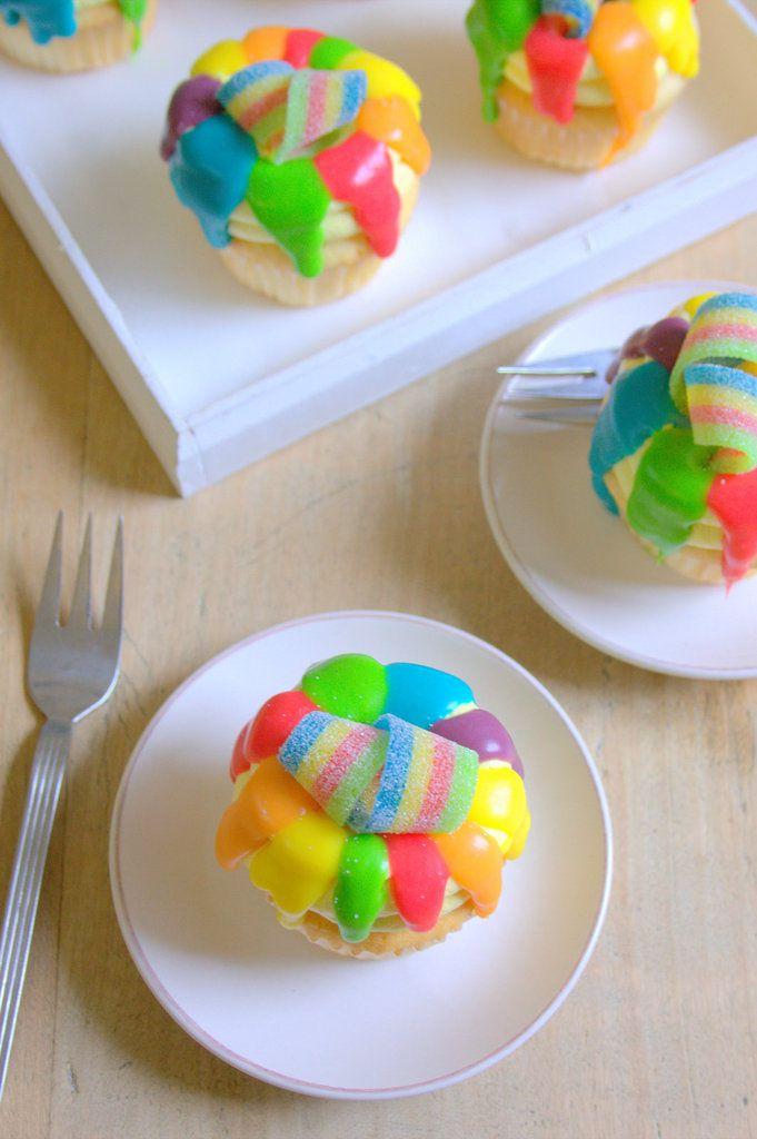 Cupcakes arc en ciel au citron