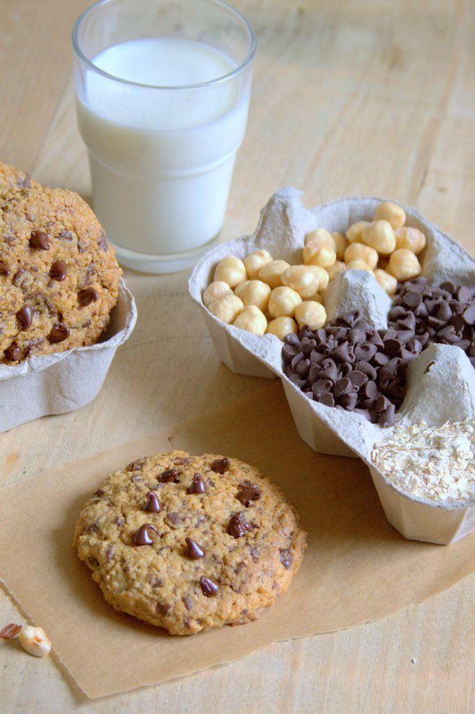 Cookie au beurre de noisettes, flocons d'avoine et pépites de chocolat