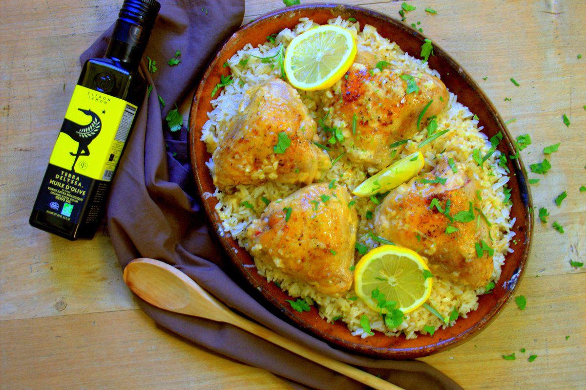 Poulet sauce crémeuse au citron, ail et romarin