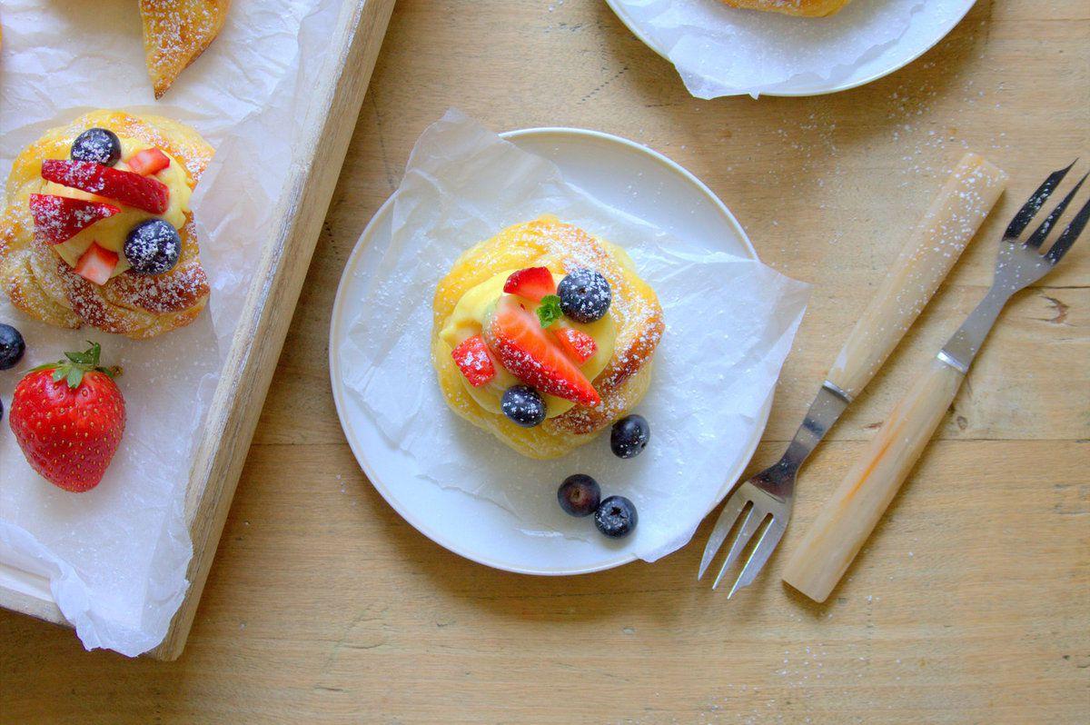 Danish à la crème pâtissière et fruits rouges