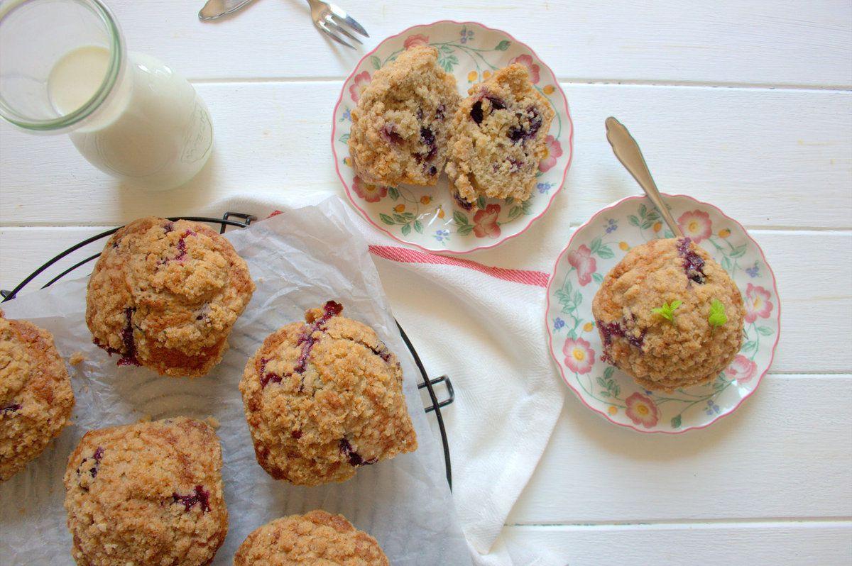 Muffins aux myrtilles et crumble