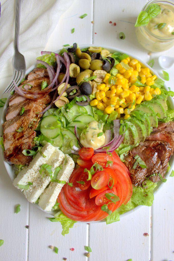 Salade mixte et steak