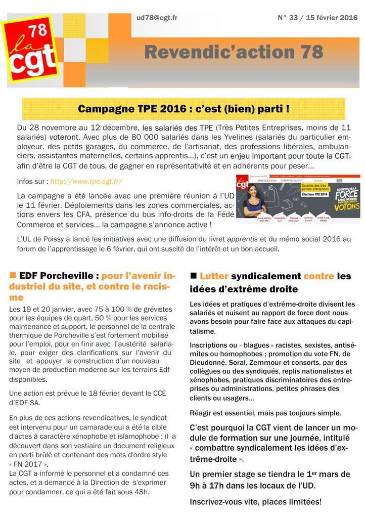 Revendic'action 78 n°33 - Février 2016 - #CGT