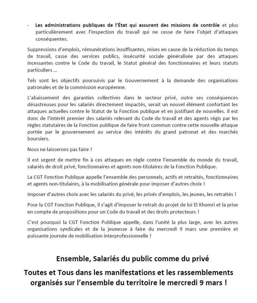 Ensemble : Imposons le retrait du projet de loi El Khomri ! Agissons pour un Code du Travail plus protecteur des salarié-e-s ! Tract de la CGT Fonction Publique