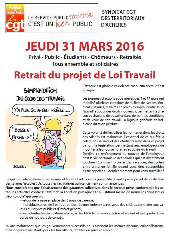 JEUDI 31 MARS 2016 - Retrait du projet de Loi Travail