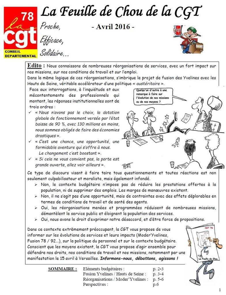 La Feuille de Chou de la CGT Proche, - Avril 2016 -