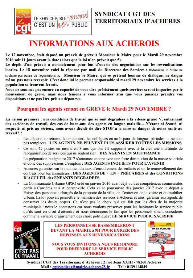 Appel à Manifestation le 29 novembre #CGT