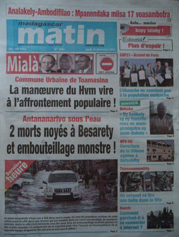 Une du quotidien Madagascar Matin le 10 décembre 2015