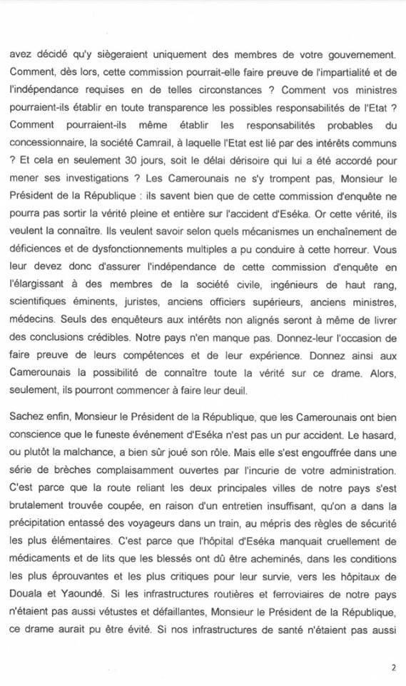 Catastrophe ferroviaire d'Eseka : lettre de son Excellence Marafa Hamidou Yaya au president Paul Biya.