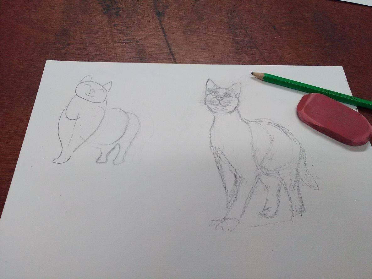 Hier cours de dessin  &quot&#x3B; le chat&quot&#x3B;, j'ai attrapé chaud