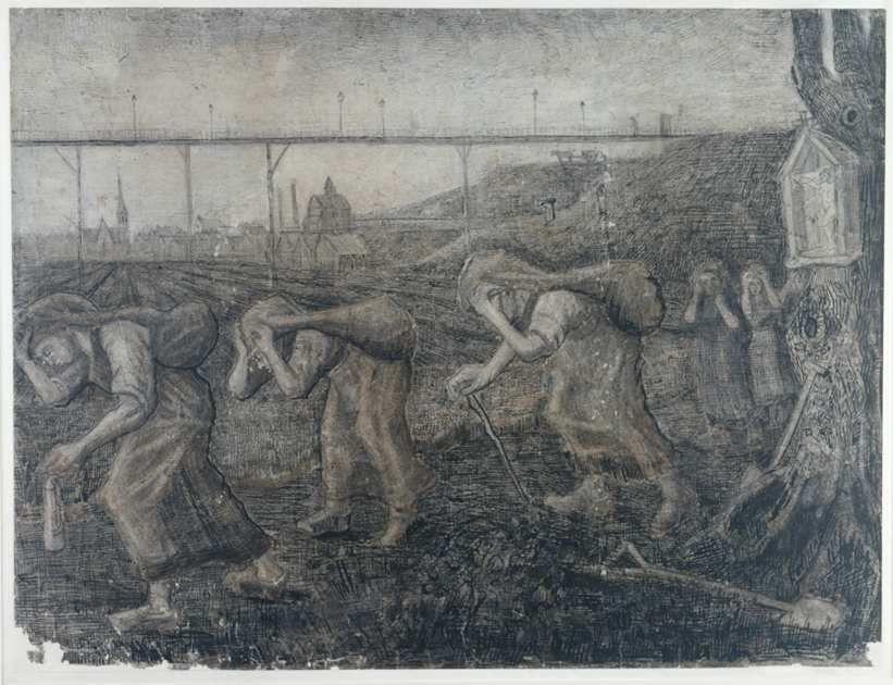 The Bearers of the Burden (porteurs de charge) de Vincent van Gogh (1881, dessin 47,5 x 63 cm) -