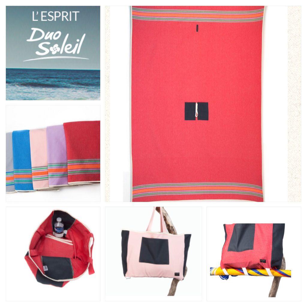 Sac de plage rose Duo Soleil sur toutes les plages du monde pratique et élégant